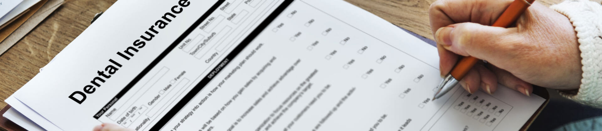 Cropped view of a dental Insurance form