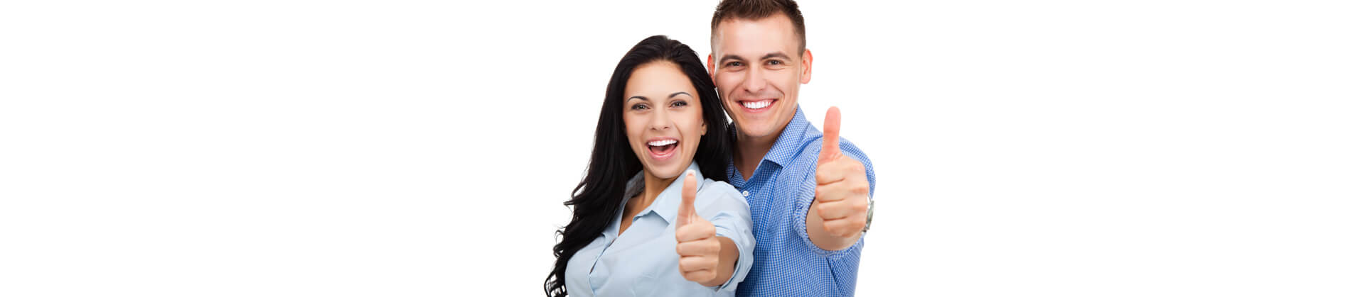Happy couple in love excited smiling and showing thumbs up